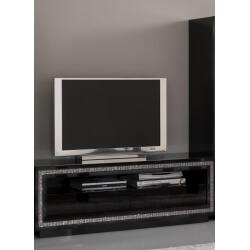 Meuble TV design laqué noir Sylvana