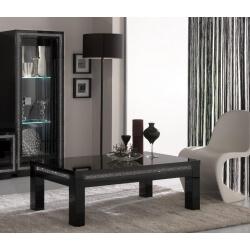 Table basse rectangulaire design laquée noire Sylvana