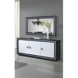 Buffet/bahut design 3 portes laqué blanc et noir Doria