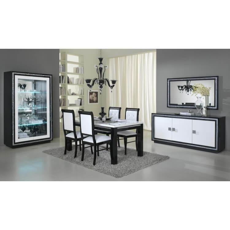 Salle à manger complète design laquée blanche et noire Doria | Matelpro