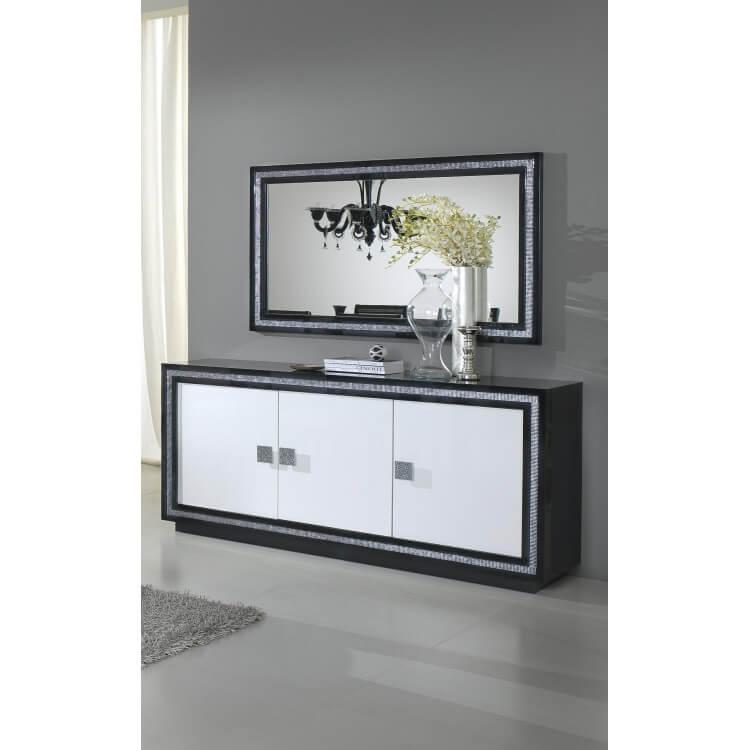 miroir de salle manger rectangulaire design laqu noir. Black Bedroom Furniture Sets. Home Design Ideas