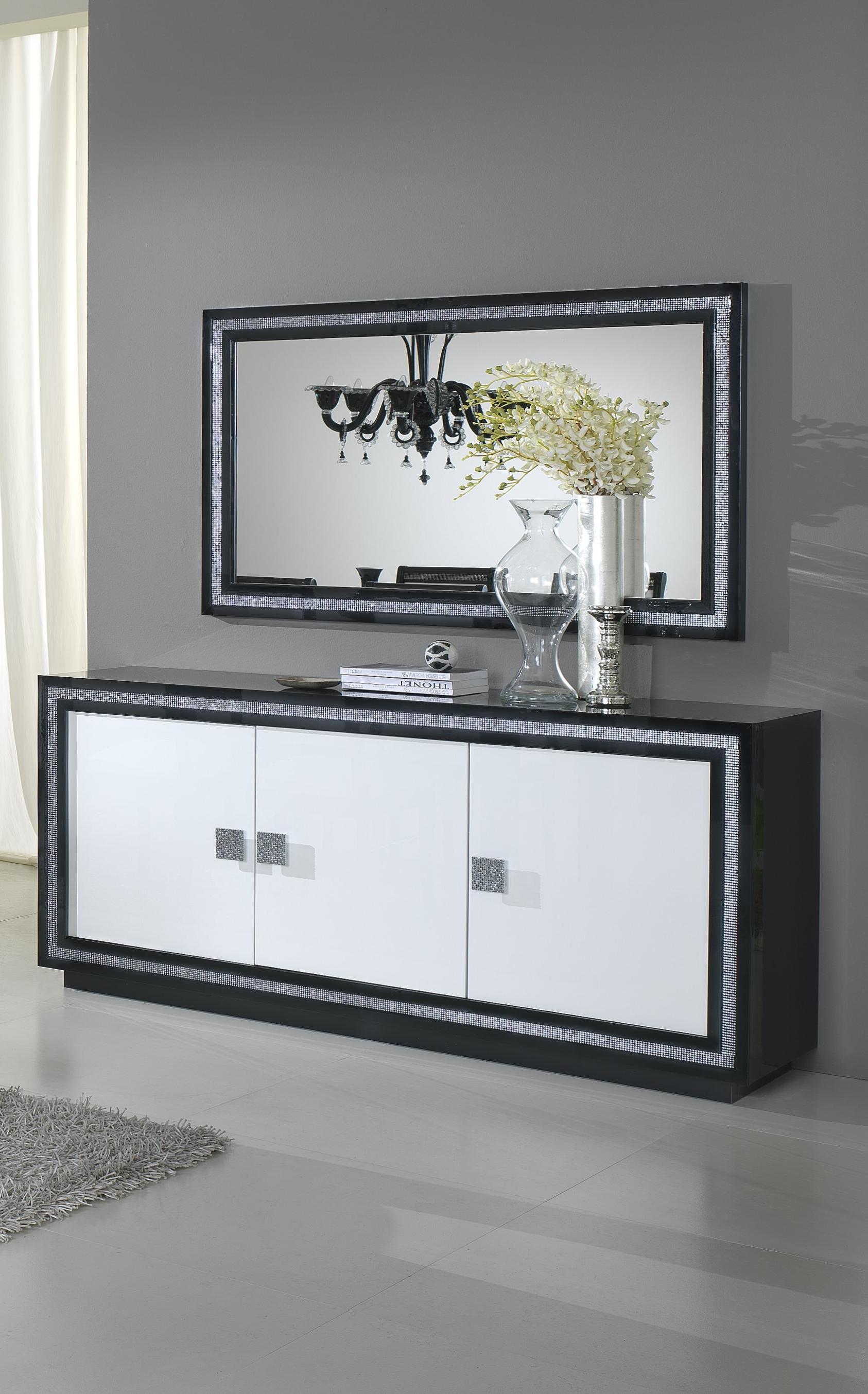 Miroir Salle De Sejour miroir de salle à manger rectangulaire design laqué noir doria