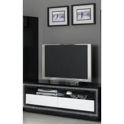 Meuble TV design laqué blanc et noir Doria