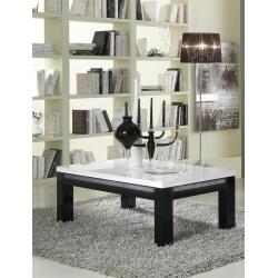 Table basse rectangulaire design laquée blanche et noire Doria