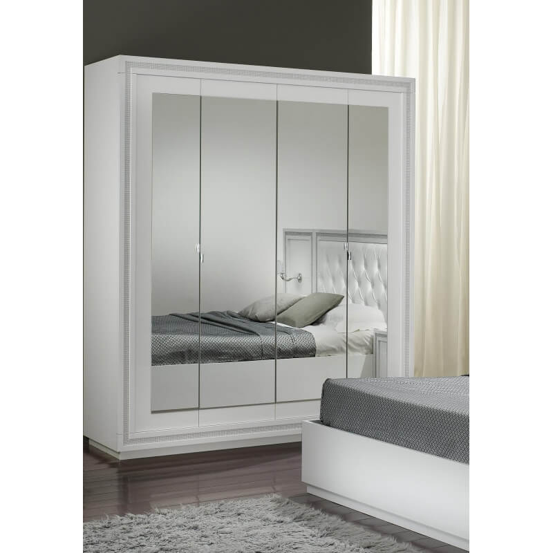 Armoire design 4 portes avec miroir laquée blanche ...
