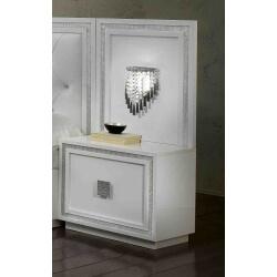 Chevet design avec éclairage laqué blanc Cristalline