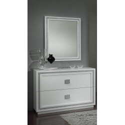Commode design 2 tiroirs laquée blanche Cristalline