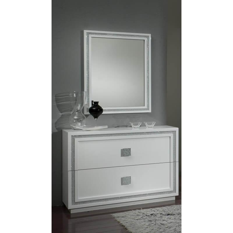 Commode Design Blanche commode design 2 tiroirs laquée blanche cristalline | matelpro