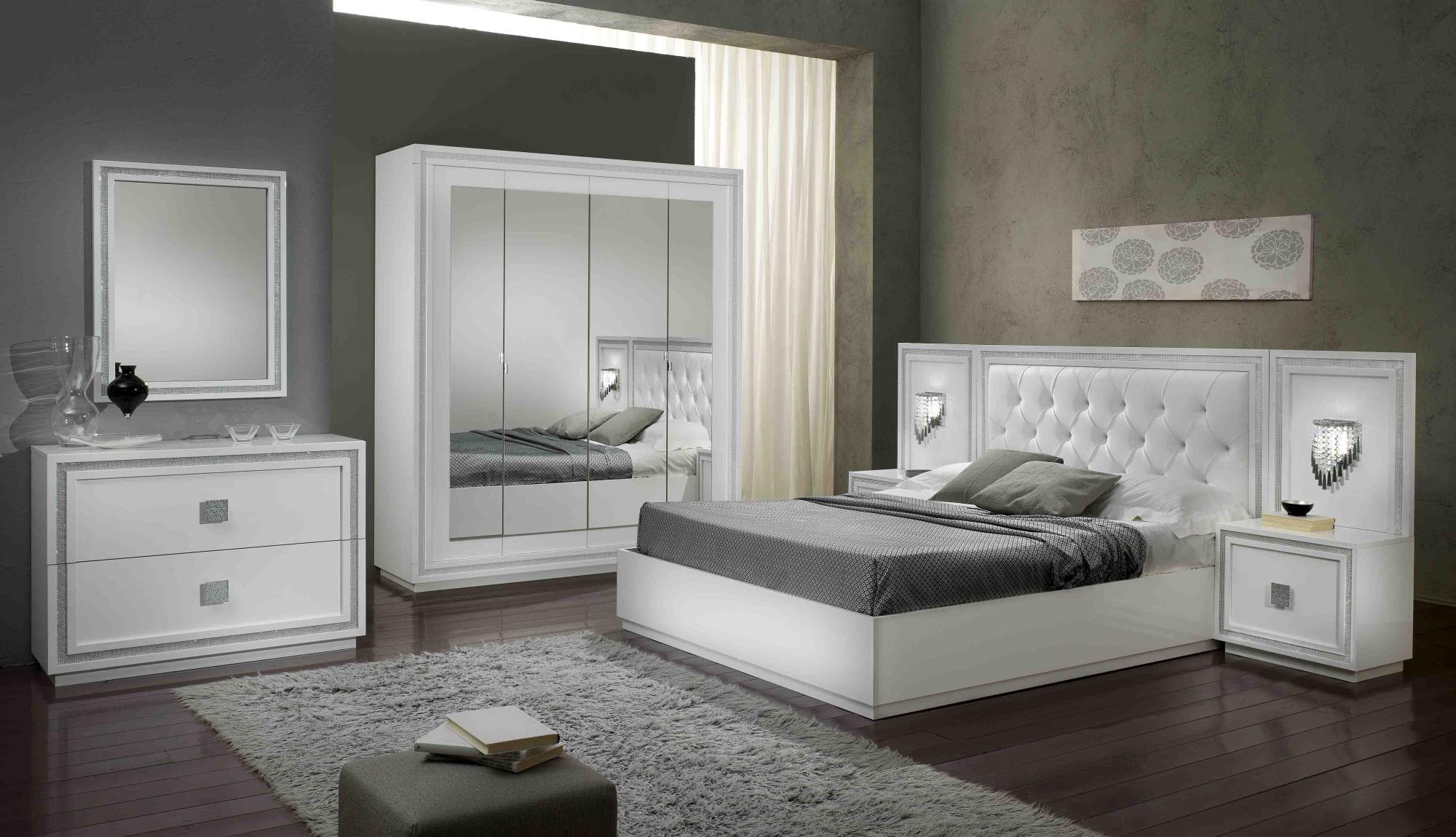 Chambre adulte complète design laquée blanche Cristalline | Matelpro