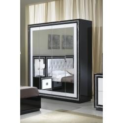 Armoire design 4 portes avec miroir laquée blanche et noire Appoline
