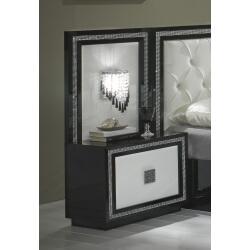Chevet design avec éclairage laqué blanc/noir Appoline