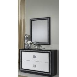 Commode design 2 tiroirs laquée blanche et noire Appoline