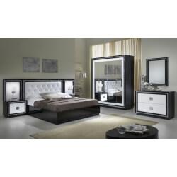 Chambre adulte complète design laquée blanche et noire Appoline