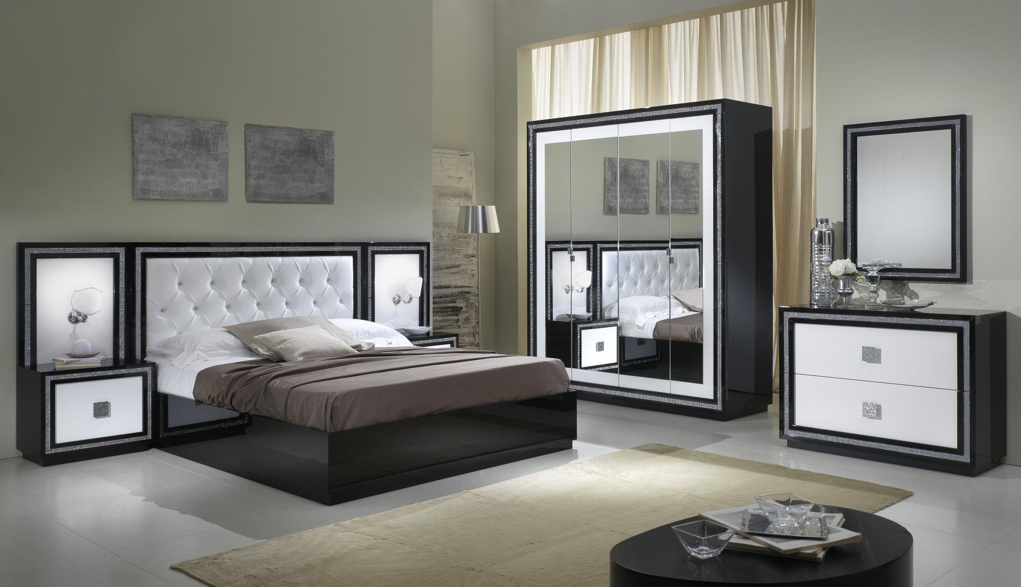 Chambre adulte complète design laquée blanche et noire Appoline ...