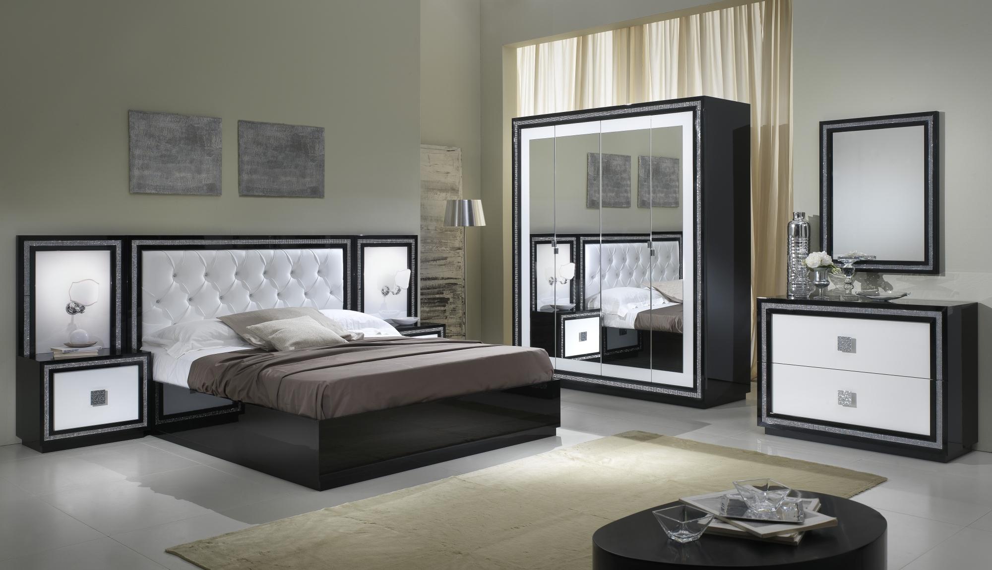 Chambre Adulte Complete Design Laquee Blanche Et Noire Appoline Matelpro