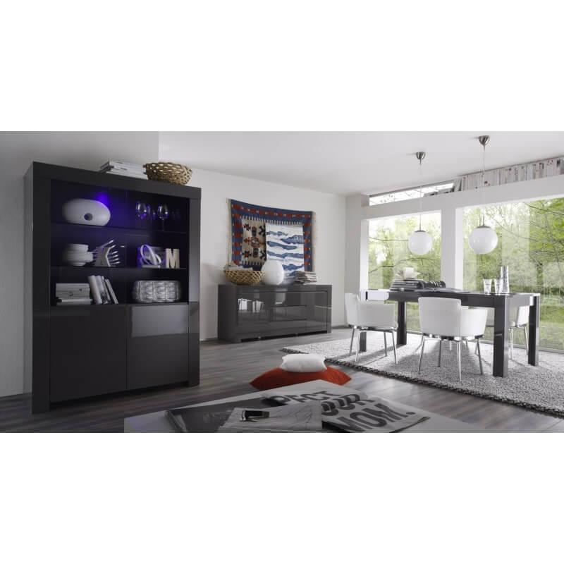 table de salle manger design laqu e grise twister matelpro. Black Bedroom Furniture Sets. Home Design Ideas