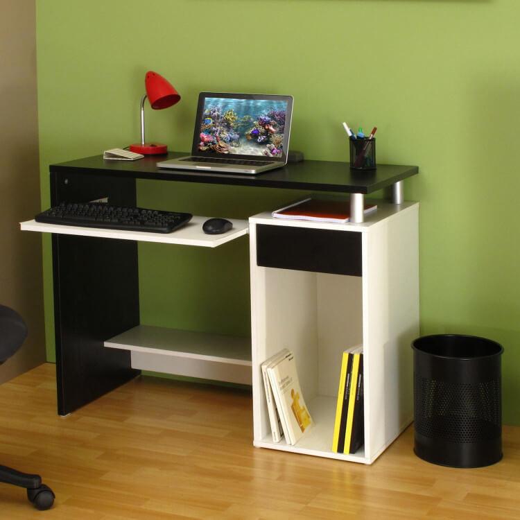 Bureau informatique contemporain coloris blanc/noir Titiano