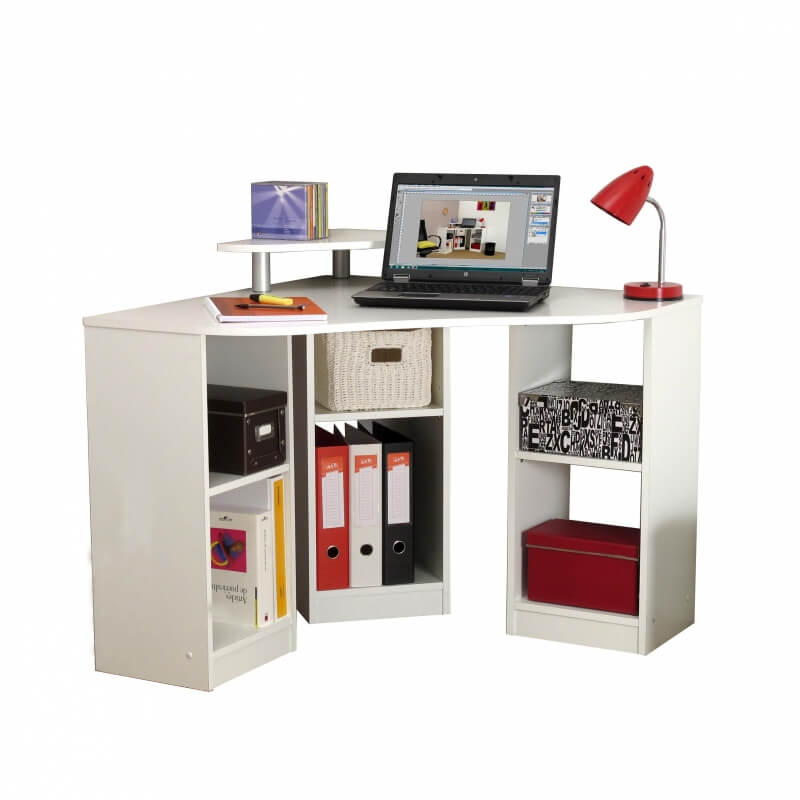 bureau d 39 angle informatique contemporain coloris blanc romane matelpro. Black Bedroom Furniture Sets. Home Design Ideas