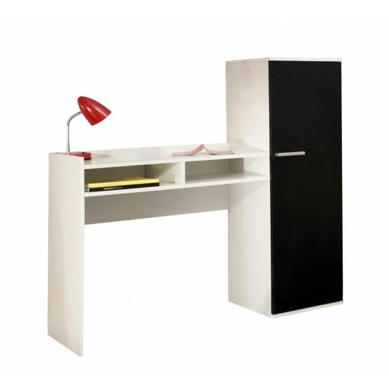 Bureau contemporain avec rangement coloris blanc noir marvin for Bureau contemporain