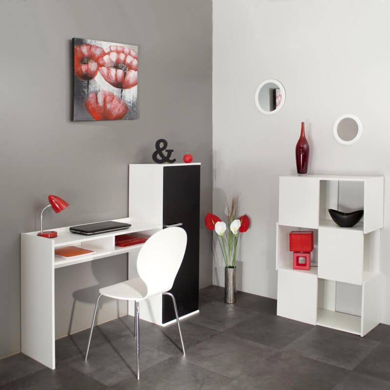 bureau contemporain avec rangement coloris blanc noir marvin. Black Bedroom Furniture Sets. Home Design Ideas