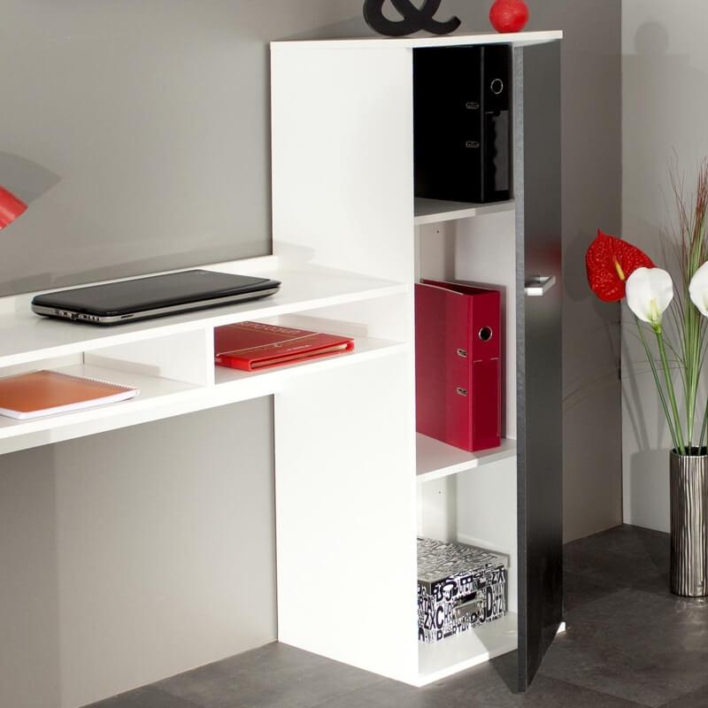 bureau contemporain avec rangement coloris blanc noir marvin. Black Bedroom Furniture Sets. Home Design Ideas