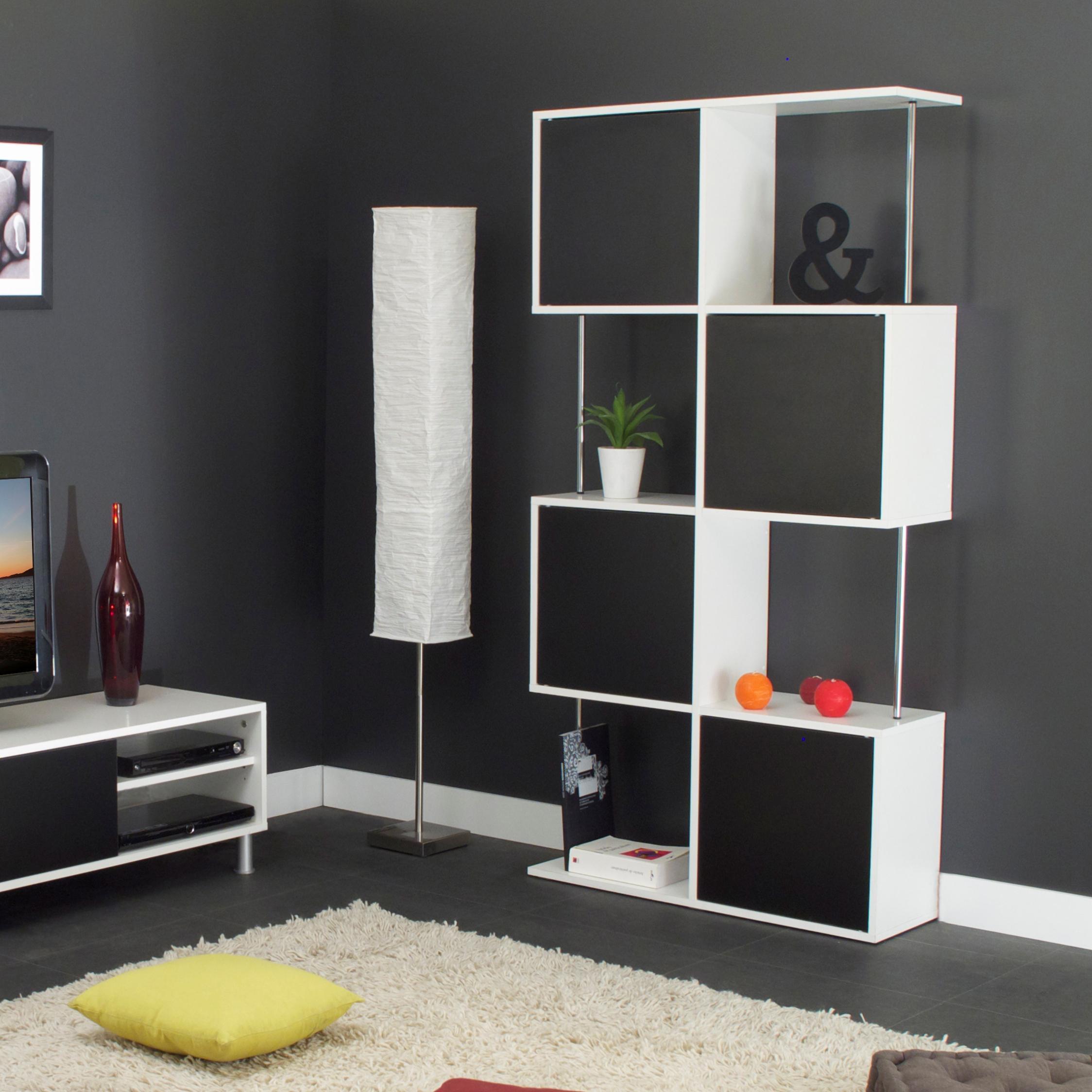 Etag re design semi ferm e coloris blanc noir rosabelle for Meuble de coin pour salon