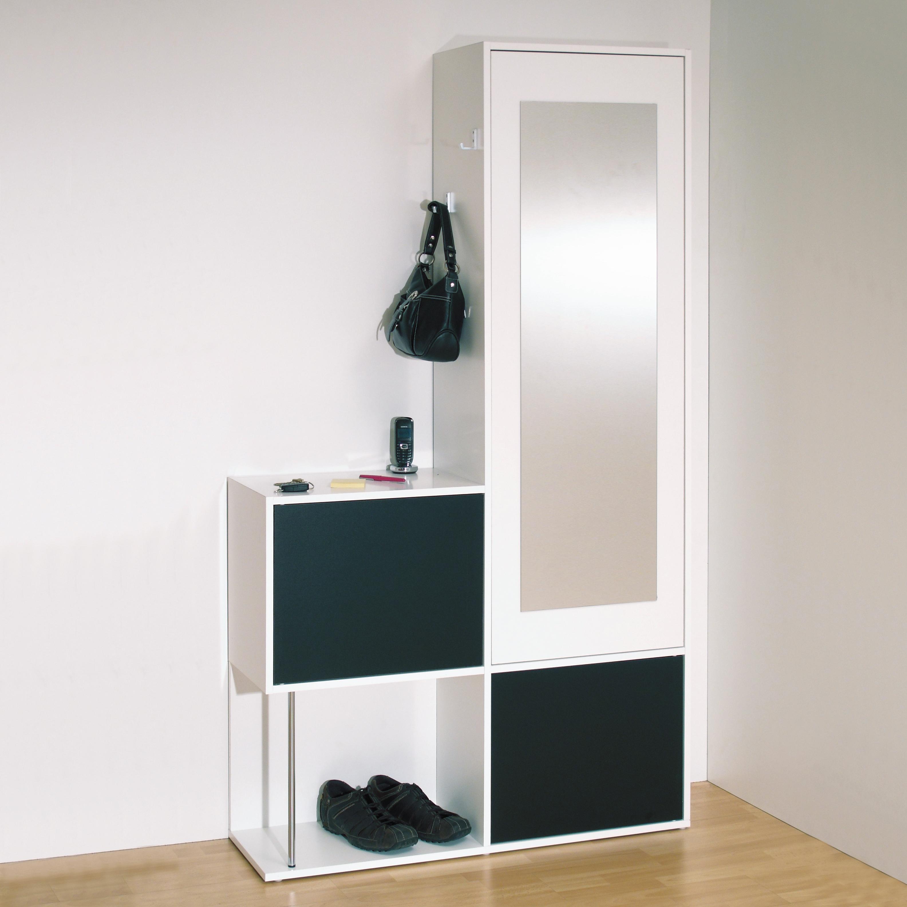 Entrée Noir Et Blanc meuble d'entrée contemporain blanc/noir almera