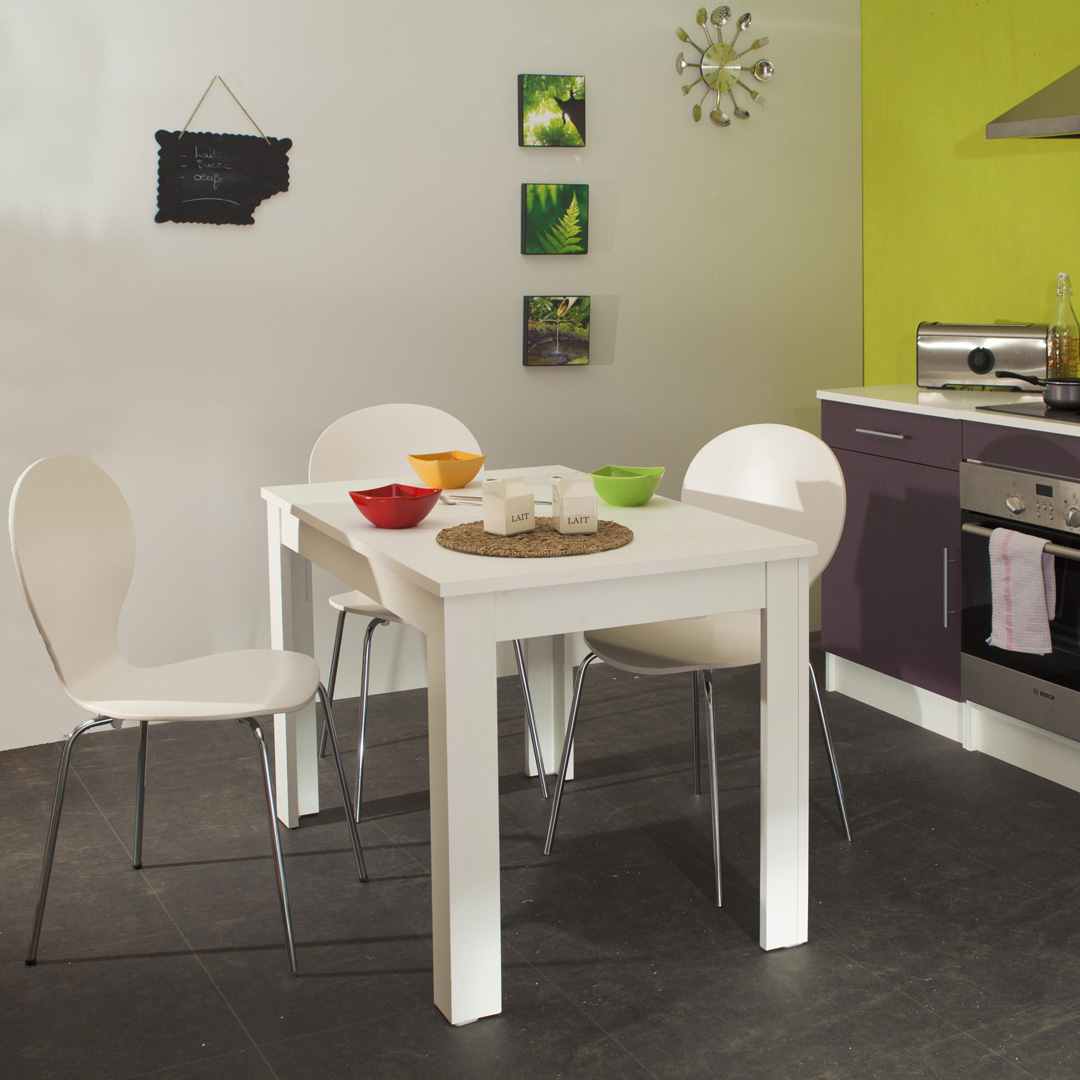 table de cuisine rectangulaire contemporaine blanche daliane. Black Bedroom Furniture Sets. Home Design Ideas