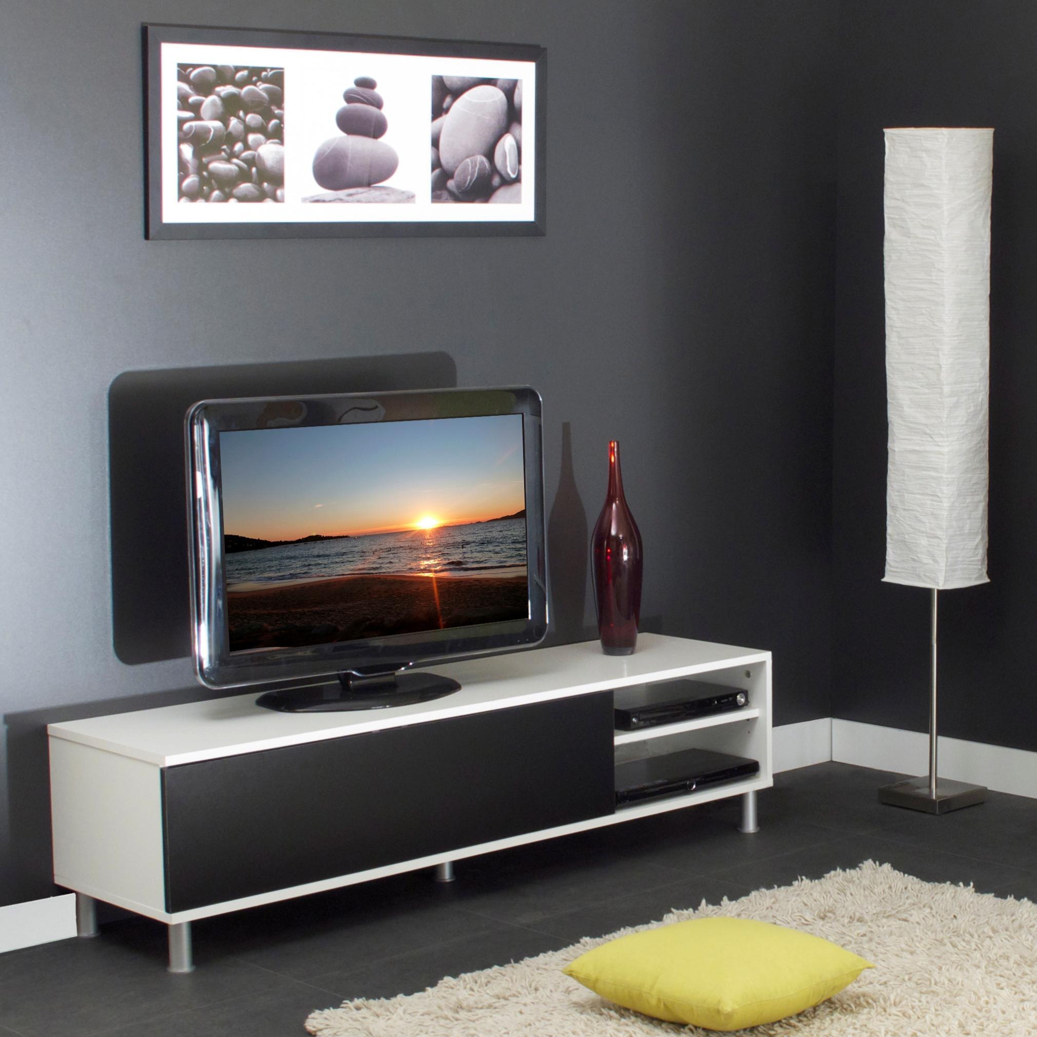 Meuble TV contemporain coloris blanc/noir Timoé