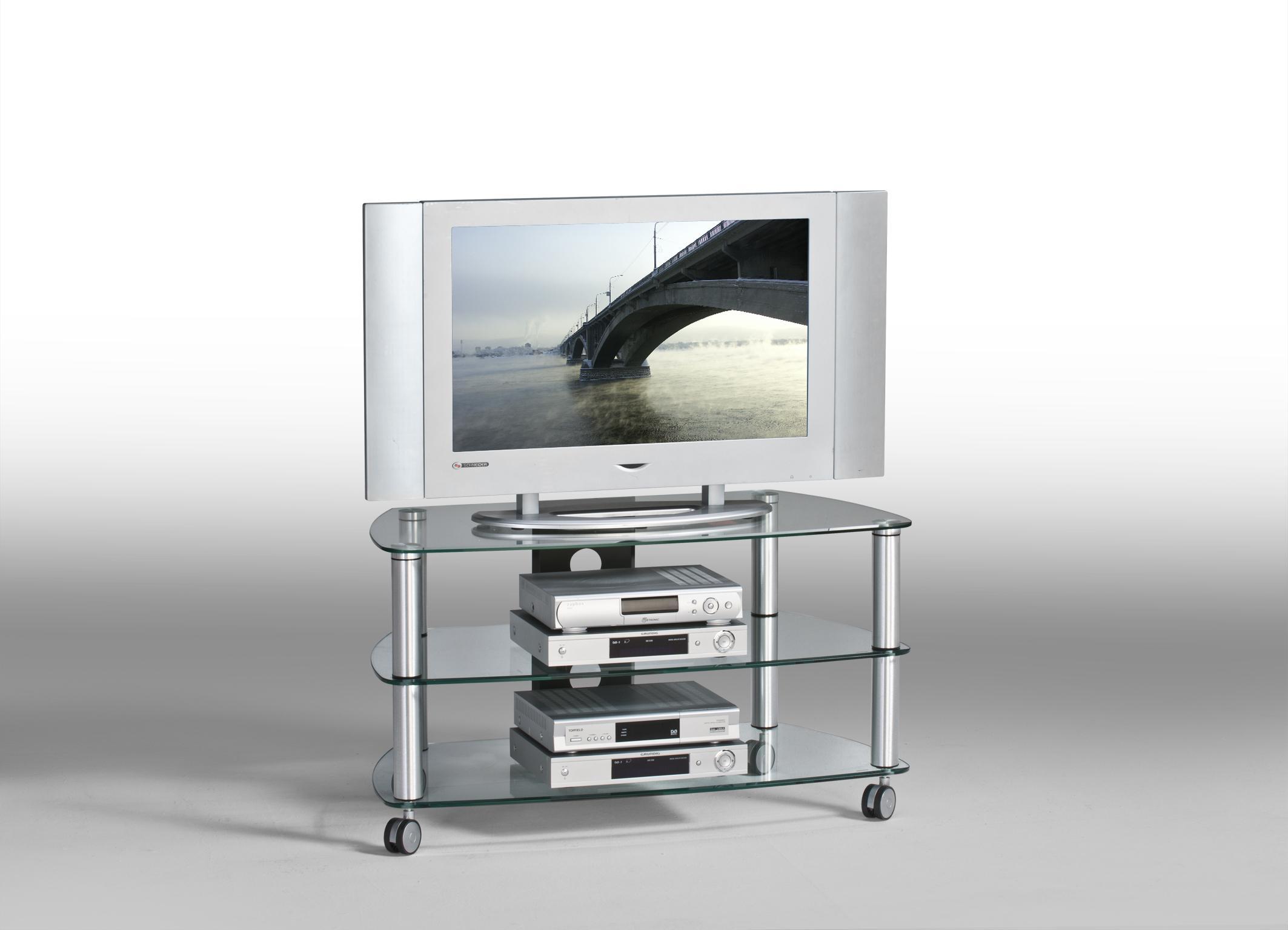 Meuble TV contemporain métal et verre coloris aluminium Kittie