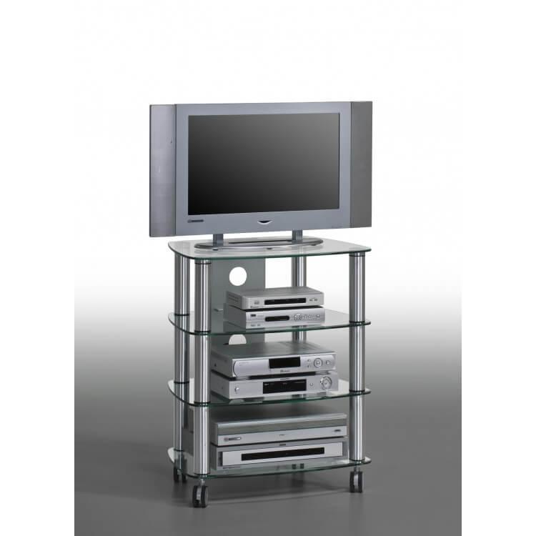Meuble TV contemporain métal et verre coloris aluminium Kittie II