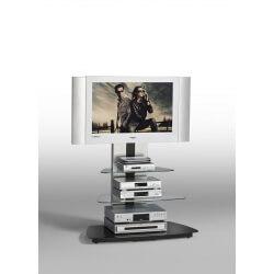 Meuble TV design métal et verre coloris noir Leonie