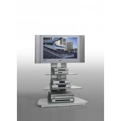 Meuble TV design métal et verre coloris blanc Leonie