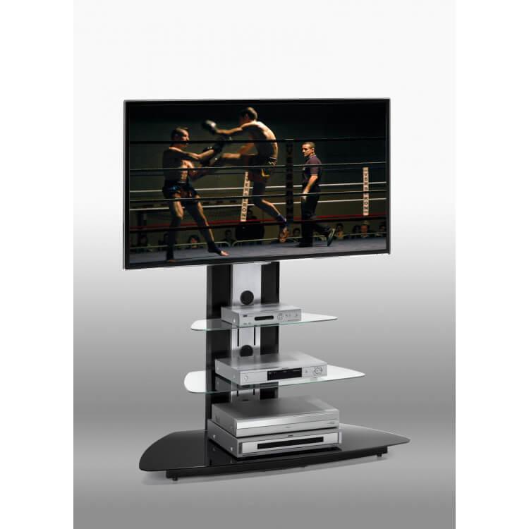 Meuble Tv En Verre Design.Meuble Tv Design En Verre Noir Abel