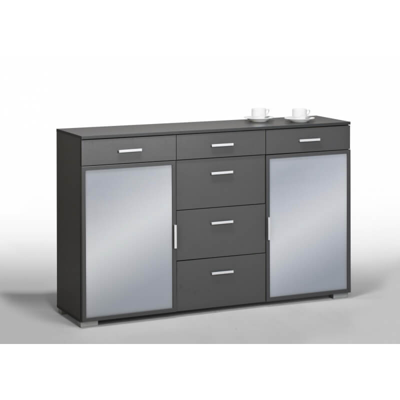 meuble de rangement contemporain 2 portes 6 tiroirs coloris gris fonc elwina. Black Bedroom Furniture Sets. Home Design Ideas