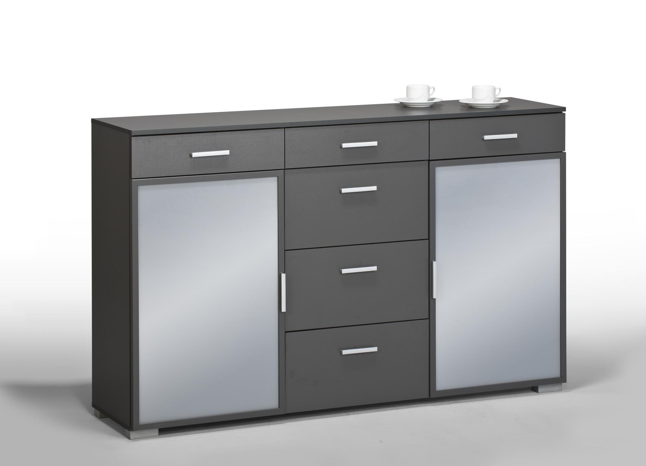 Meuble de rangement contemporain 2 portes 6 tiroirs coloris gris fonc elwina - Meuble de rangement 2 portes coulissantes ...