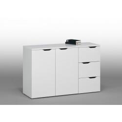 Meuble de rangement contemporain blanc 2 portes/3 tiroirs Kelen