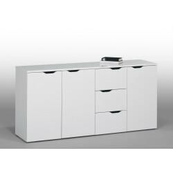 Meuble de rangement contemporain blanc 3 portes/3 tiroirs Kelen