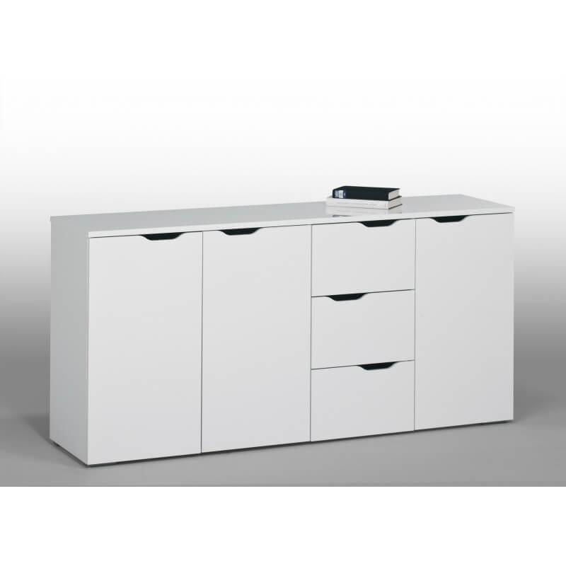 meuble de rangement contemporain blanc 3 portes 3 tiroirs kelen matelpro. Black Bedroom Furniture Sets. Home Design Ideas