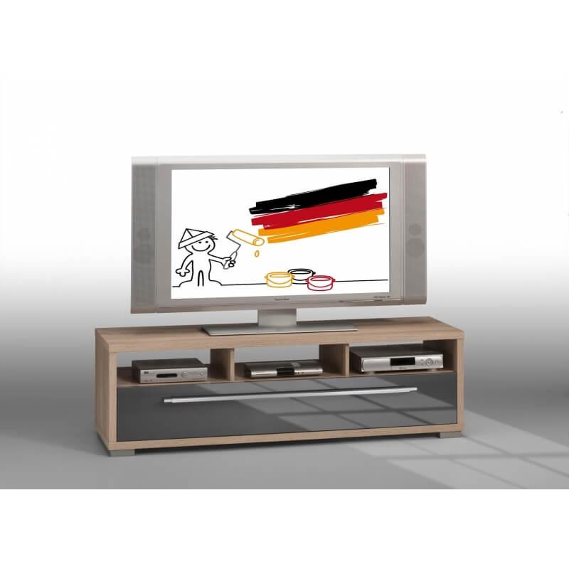 meuble tv contemporain ch ne sonoma gris laqu nolwen. Black Bedroom Furniture Sets. Home Design Ideas