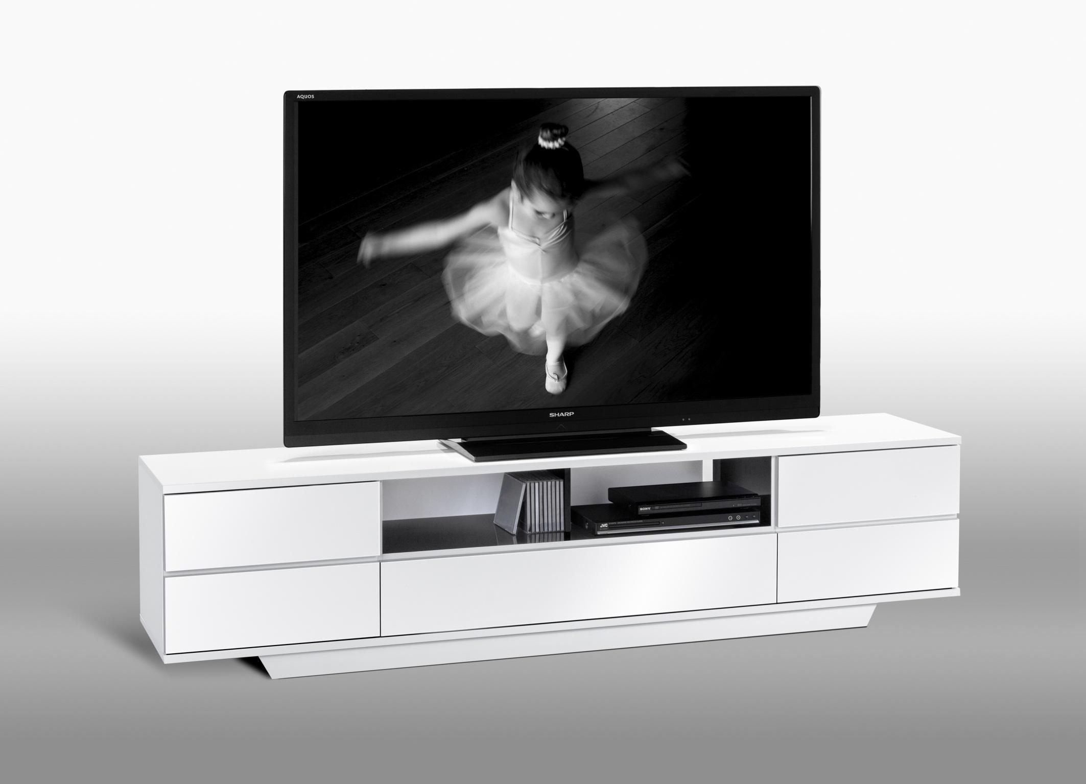 Meuble Tv Design Blanc Laque Loeva Matelpro