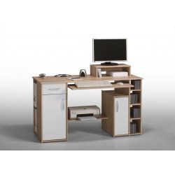 Bureau informatique contemporain chêne sonoma-blanc Saveria