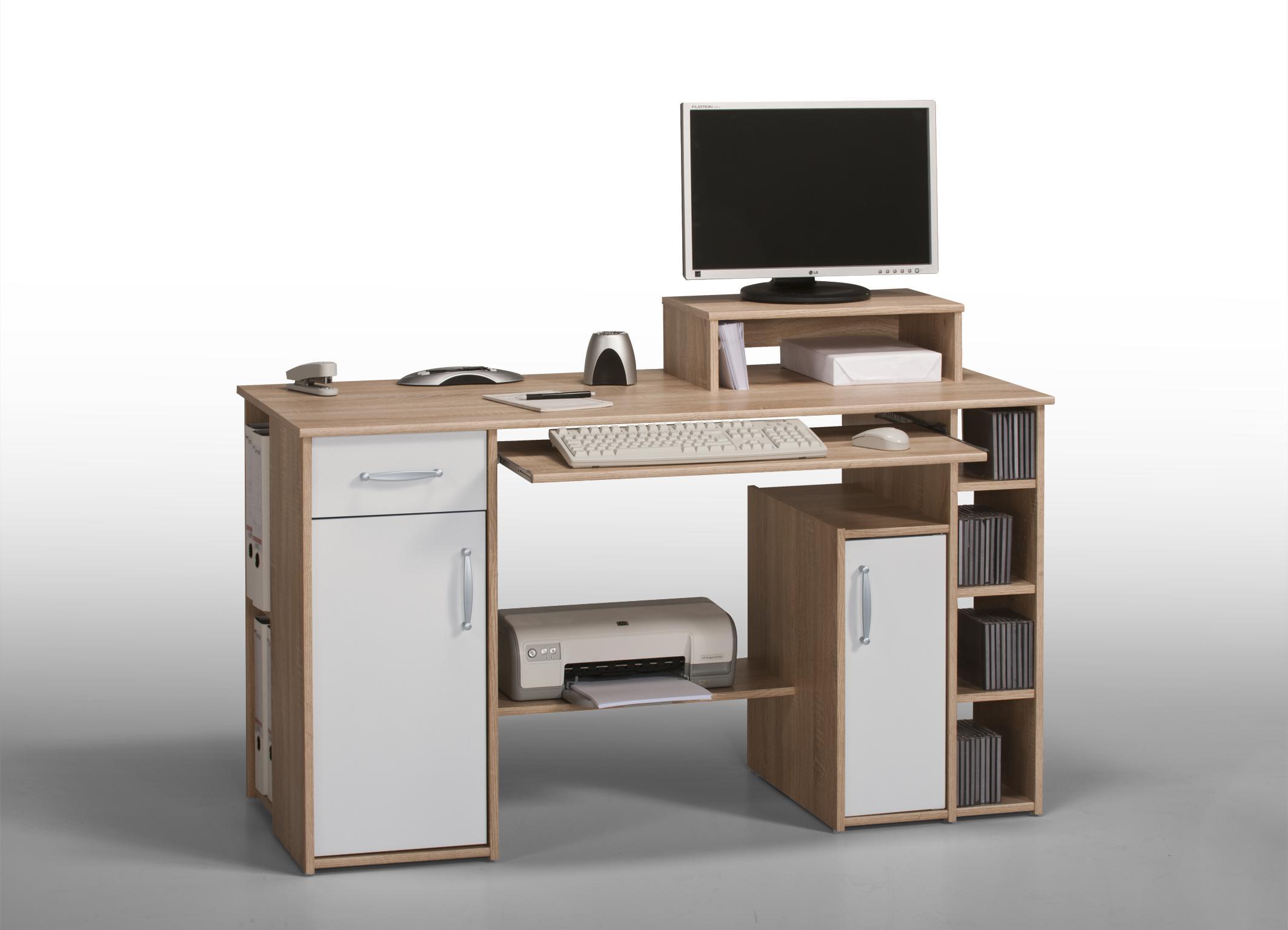 Bureau informatique contemporain chêne sonoma-blanc Saveria