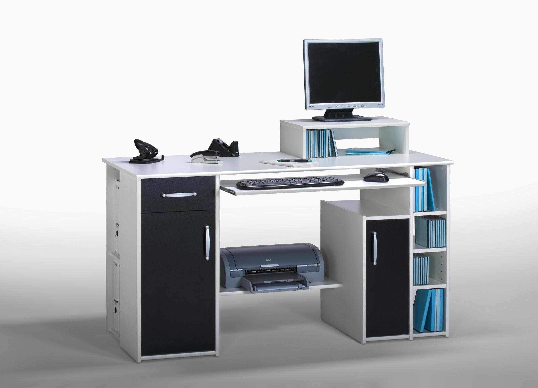 Bureau informatique contemporain blanc noir saveria