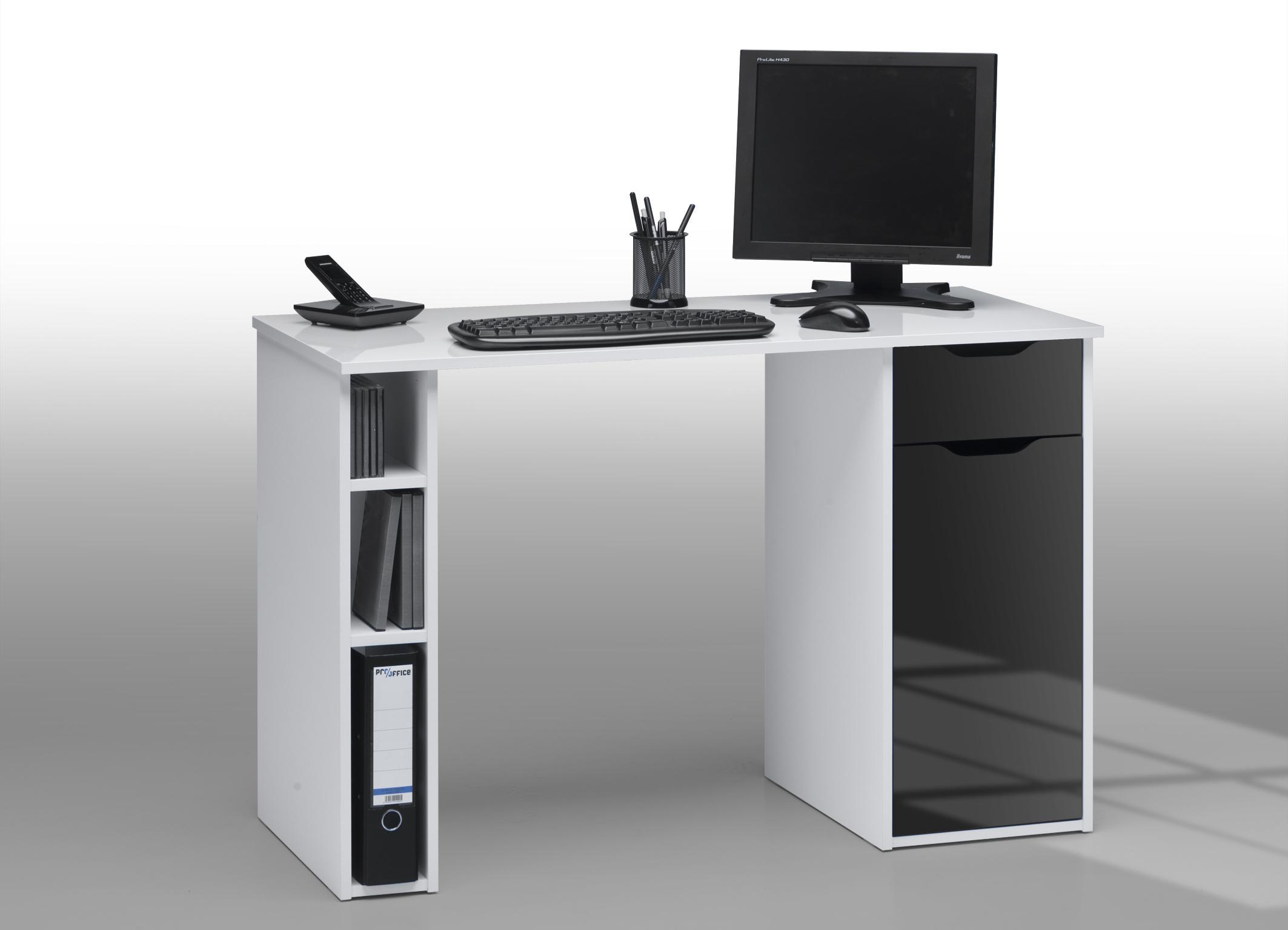Bureau informatique design laqué blanc noir lisandra