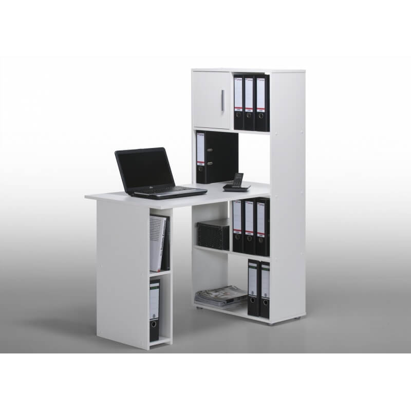 bureau informatique contemporain avec rangement blanc ylas. Black Bedroom Furniture Sets. Home Design Ideas