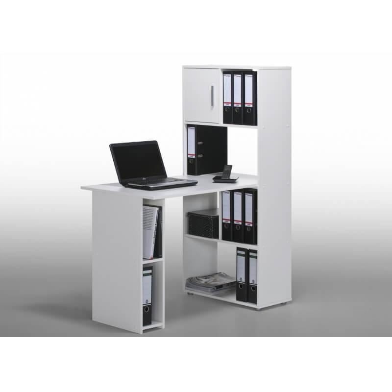 bureau informatique contemporain avec rangement blanc ylas. Black Bedroom Furniture Sets. Home Design Ideas