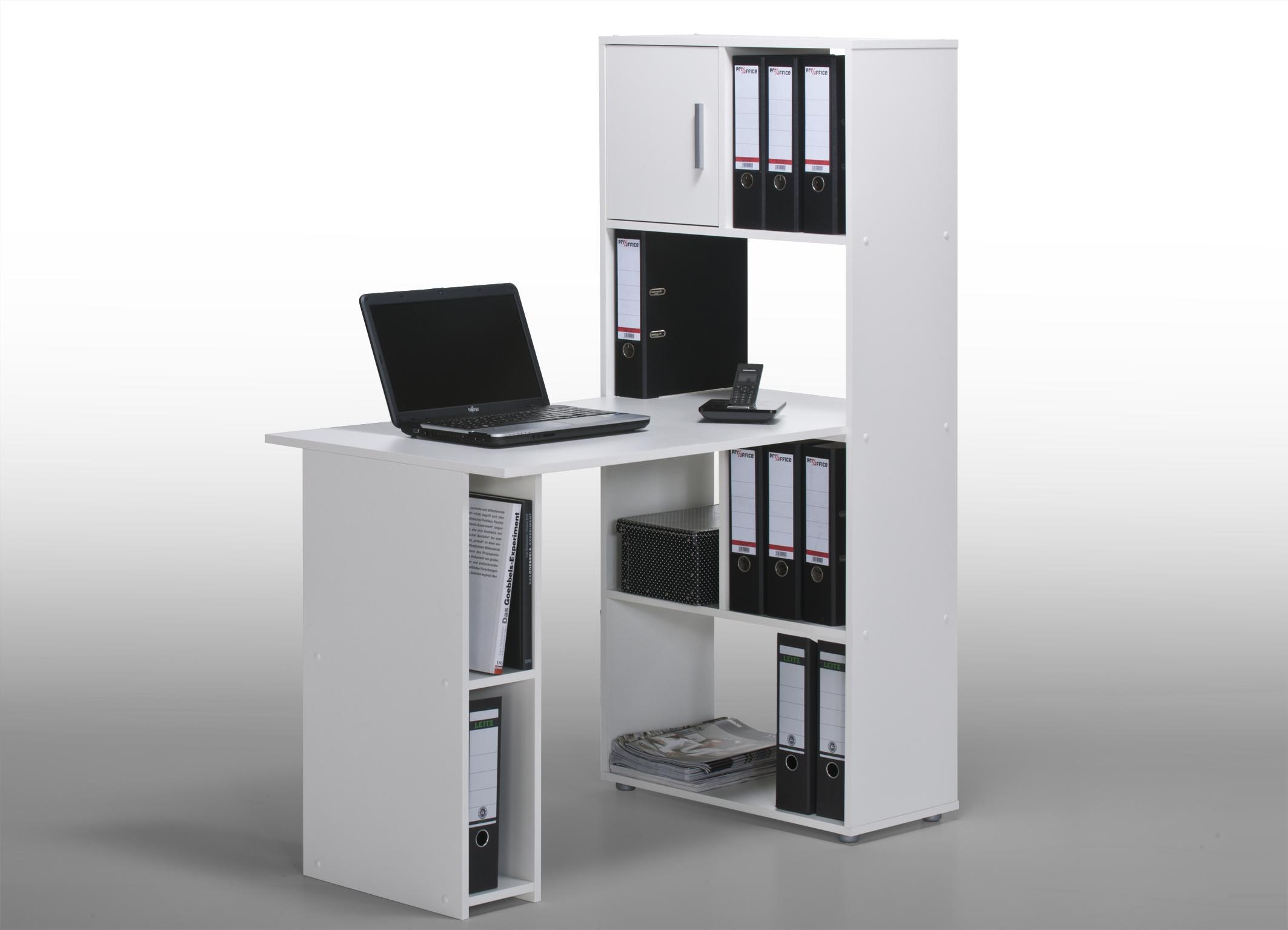 Bureau informatique contemporain avec rangement blanc Ylas