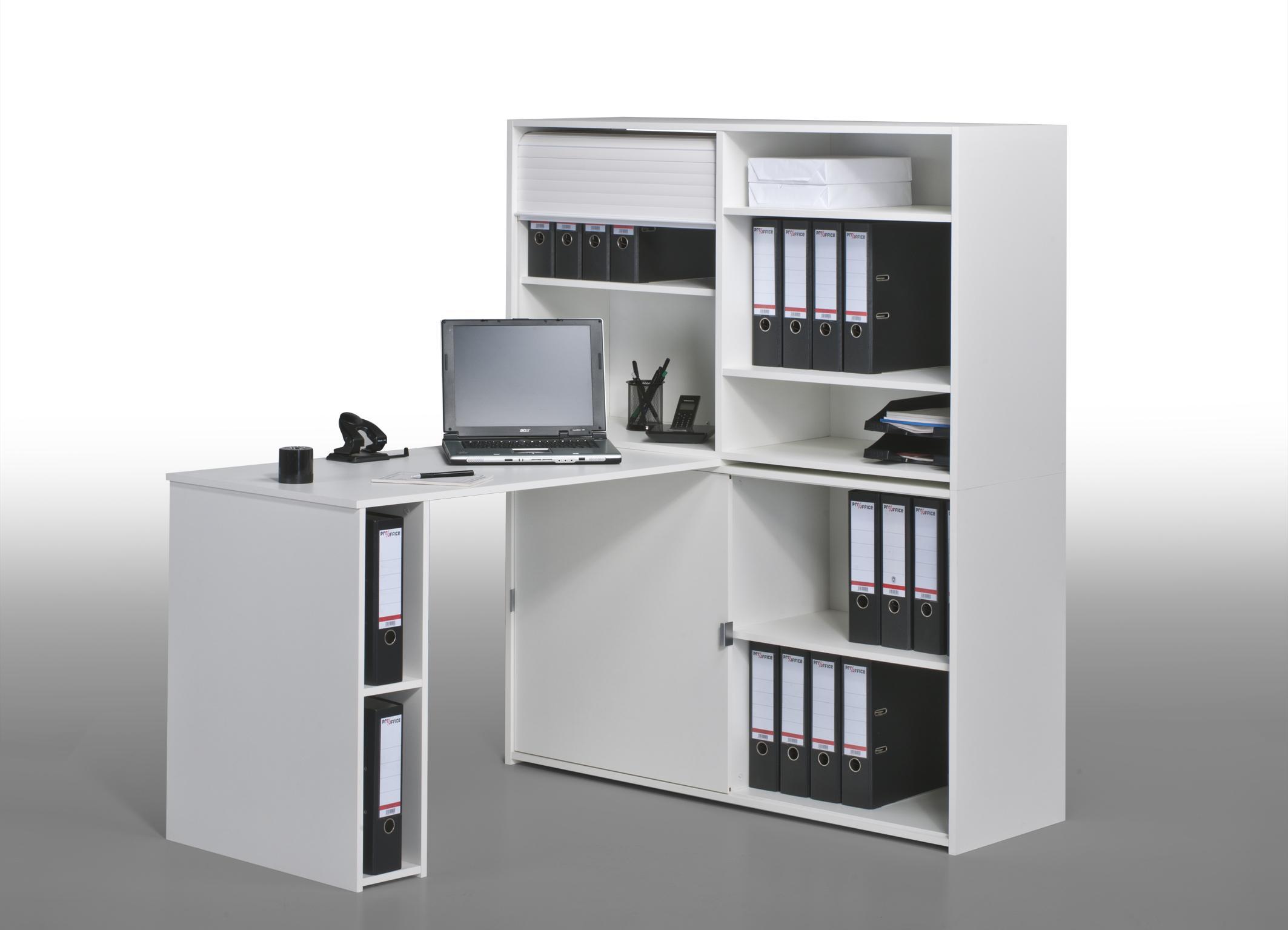Bureau informatique contemporain avec rangement chêne blanc Ornella