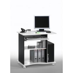 Bureau informatique contemporain sur roulettes blanc-noir Lillirose